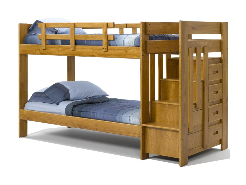 Woodcrest Heartland BR STH154 Twin Over Twin Reversible Stair Bunk ...