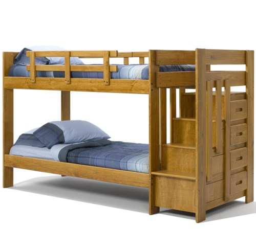 Woodcrest Heartland Br Twin Over Twin Reversible Stair Bunk Bed