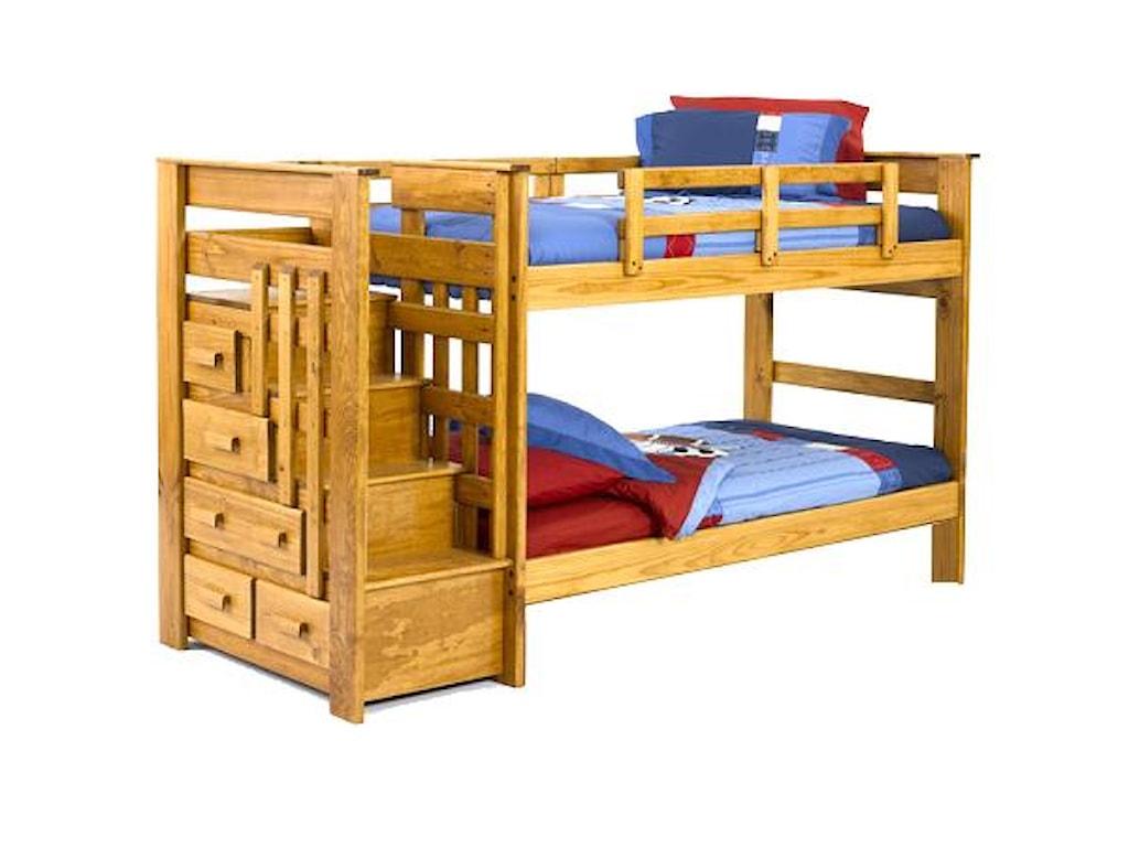 Woodcrest Heartland Br Twin Full Stairway Bunk Westrich Furniture