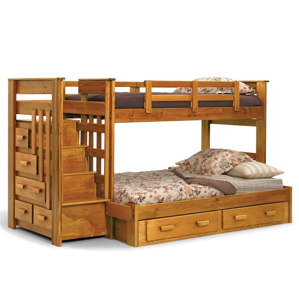 Woodcrest Heartland Br Casual Style Twin Full Bunk Bed With Built In
