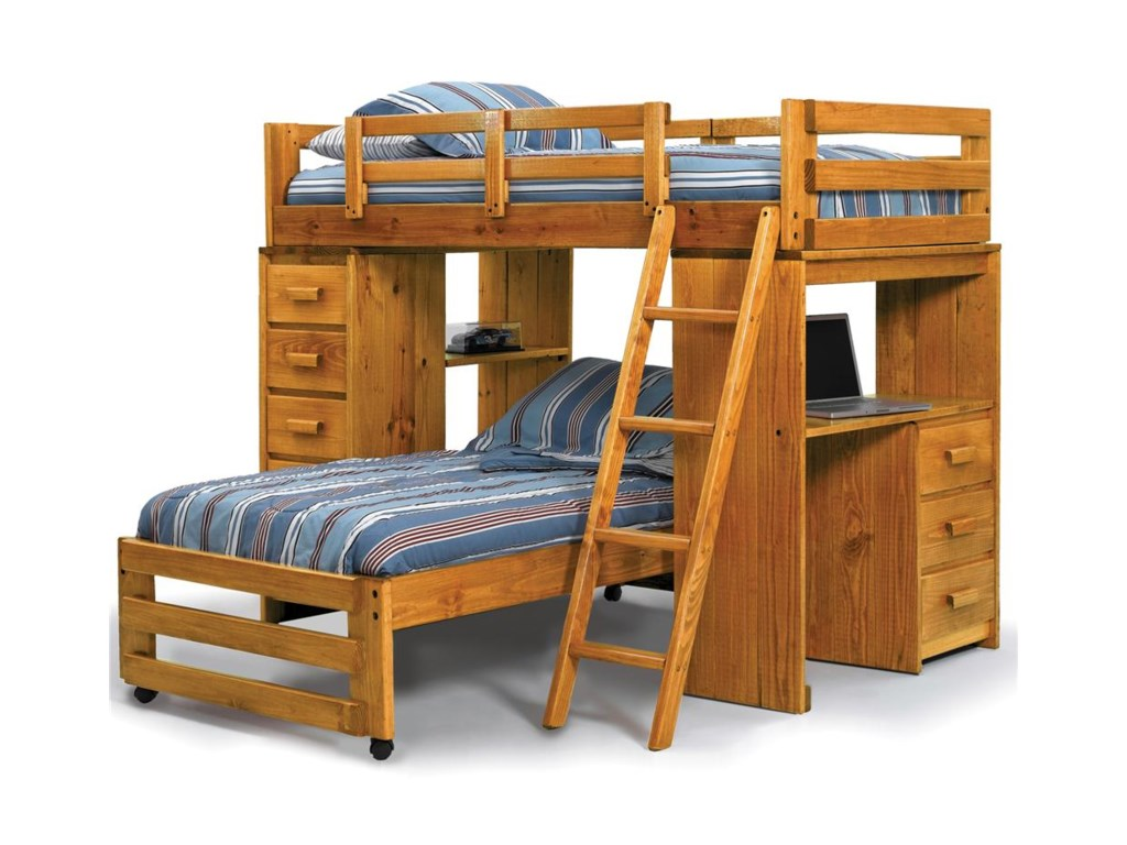 Woodcrest Heartland Br Loft Bed With Built In Desk And Drawer