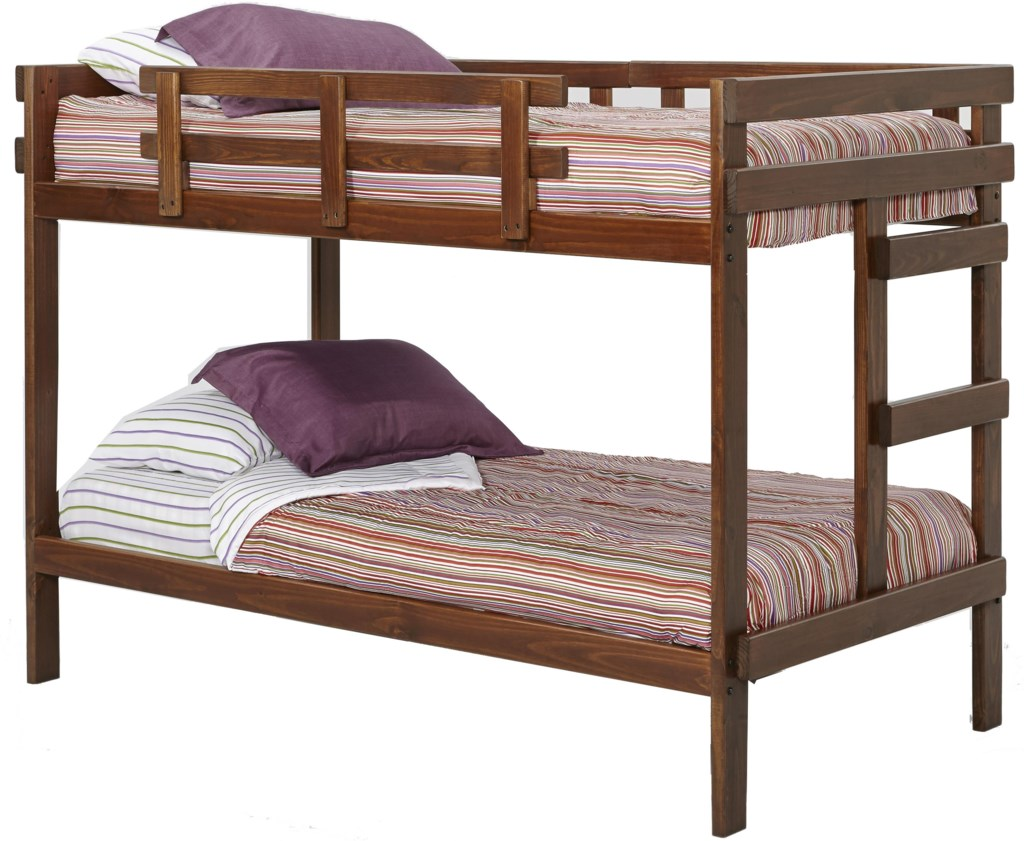 woodcrest heartland traditional style wooden bunk bed with built