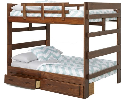 Woodcrest Heartland Rustic Full Full Bunk Bed With Center Support