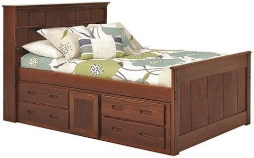 Woodcrest Heartland Full Captain's Bed with Drawer Storage