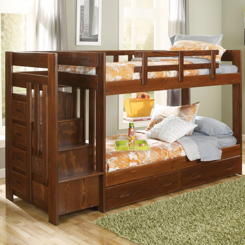 Woodcrest Heartland Twin Over Twin Reversible Stair Bunk Bed A1