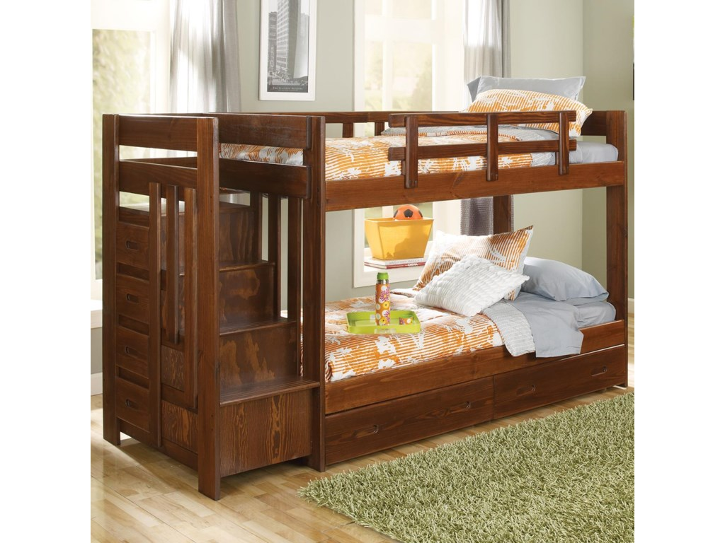 Woodcrest Heartland Twin Over Twin Reversible Stair Bunk Bed
