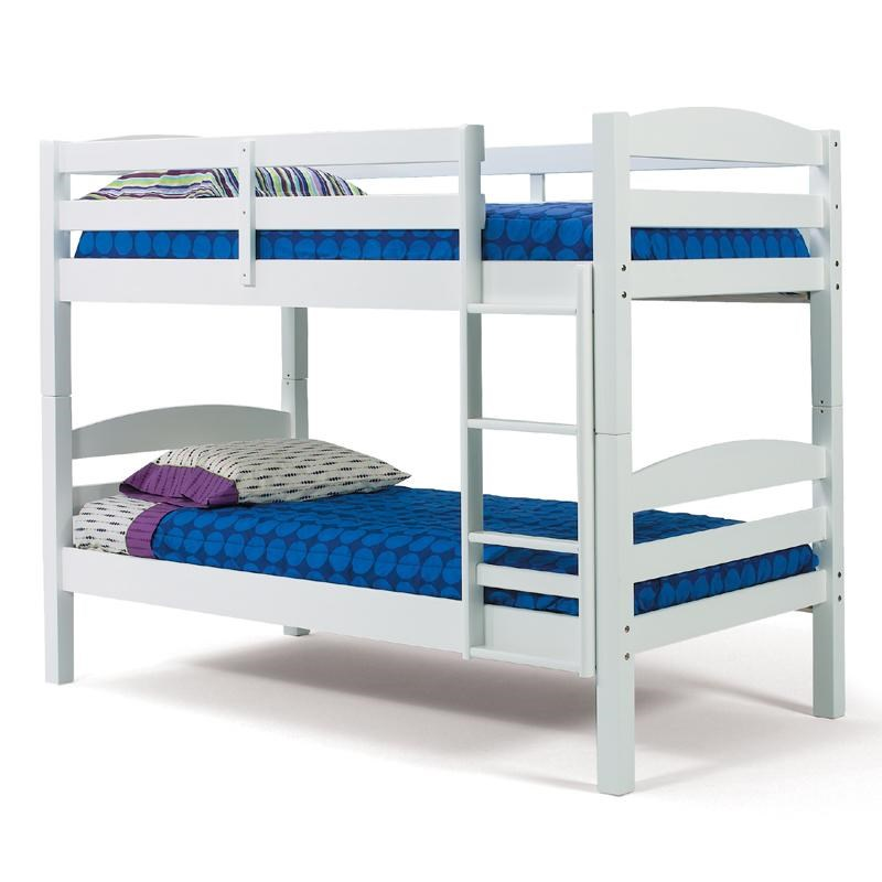 Woodcrest Pine Ridge White Twin Over Twin Bunk Bed With Slats And