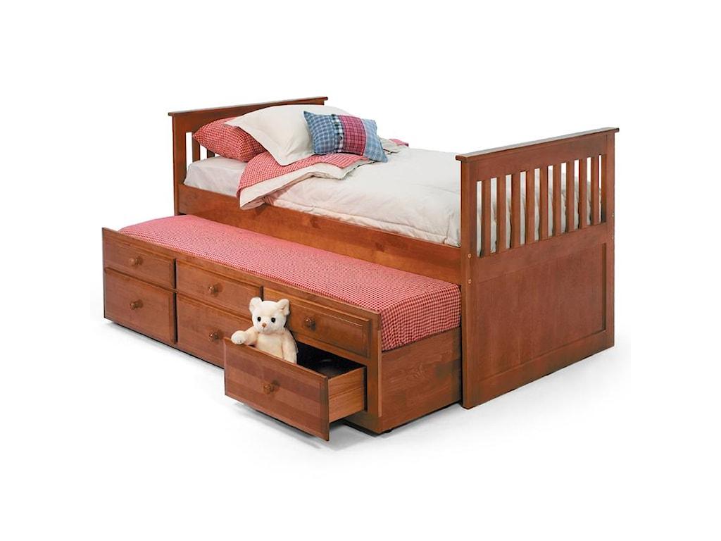 Woodcrest Pine RidgeTwin Storage Trundle Bed