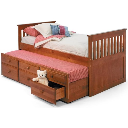 Woodcrest Pine Ridge Twin Mission Bed with Twin Trundle and 3 Underbed Storage Drawers