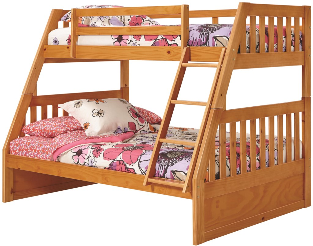 Woodcrest Pine Ridge Twin Over Full Mission Bunk Bed With Slats L