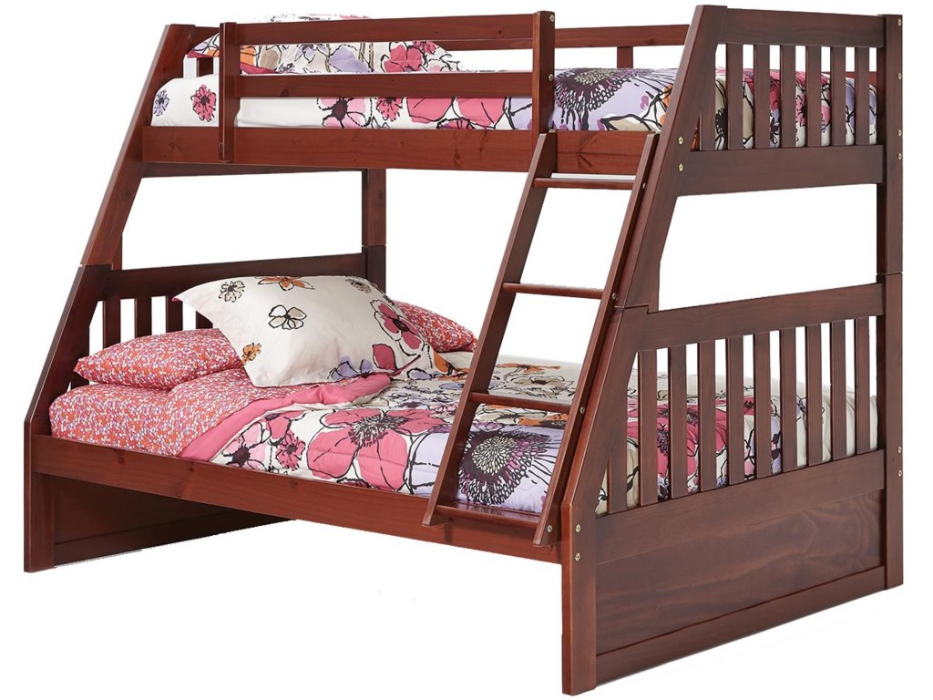 Woodcrest Pine Ridge Twin Over Full Mission Bunk Bed With Slats A1