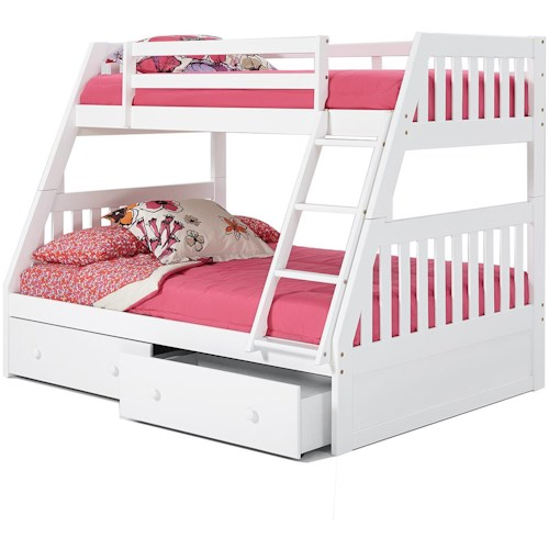 Woodcrest Pine Ridge Twin Over Full Mission Bunk Bed With Underbed