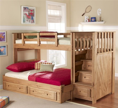 Woodcrest Woody Creek Twin Over Full Front Loading Stairway Bunk