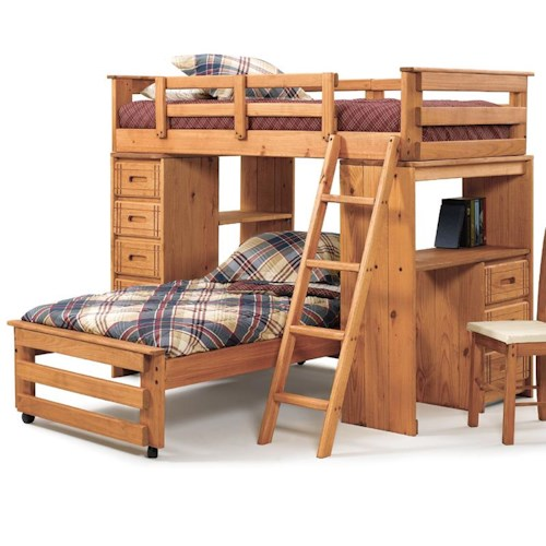 Woodcrest Woody Creek Twin Over Twin Student Loft with Storage Tower and Desk