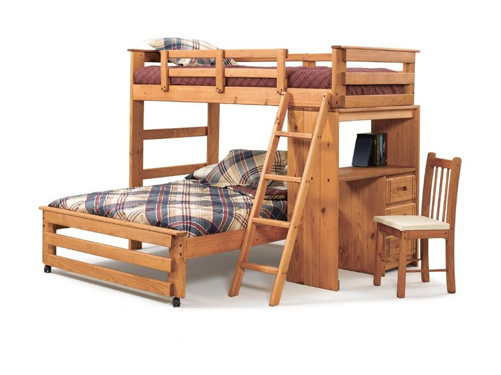 Woodcrest Woody Creek Twin Over Full Loft Bed With Storage Tower And