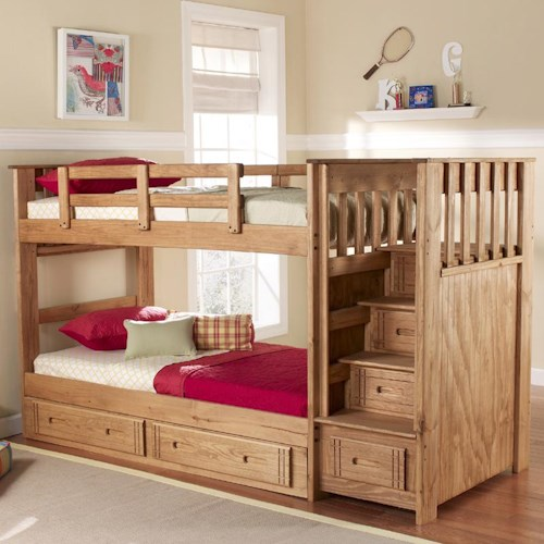 Woodcrest Woody Creek Twin Over Twin Front Loading Stairway Bunk