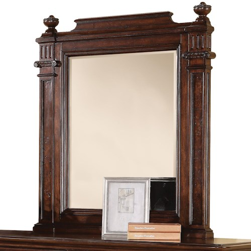 Flexsteel Wynwood Collection Aberdeen Beveled Glass Mirror with Posts