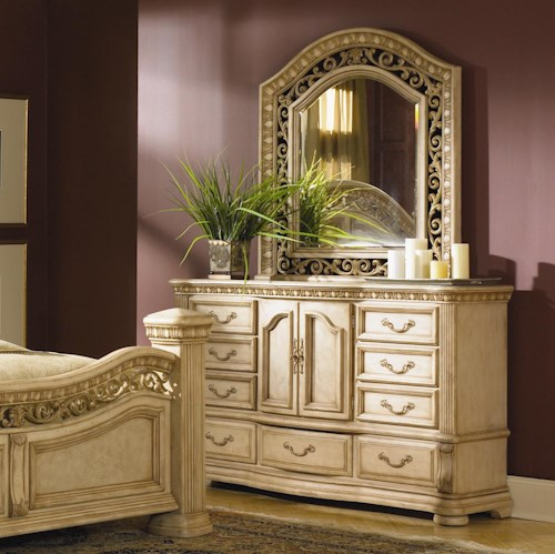 Flexsteel Wynwood Collection Antiguo Blanco Landscape Mirror and 9 Drawer Dresser Combination