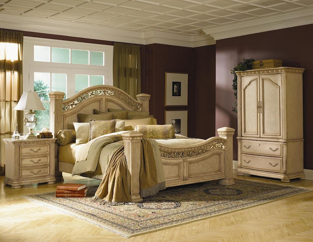 Flexsteel Wynwood Collection Antiguo Blanco King Mansion Bed