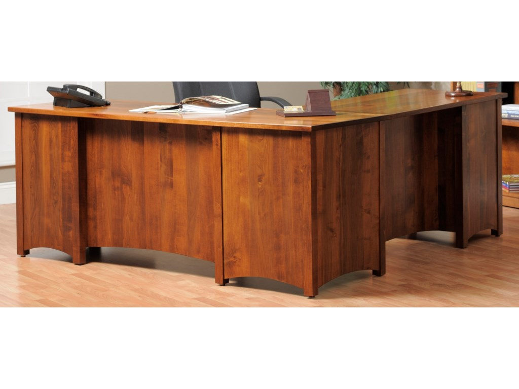 Y & T Woodcraft Rivertown Home OfficeL-Desk and Hutch