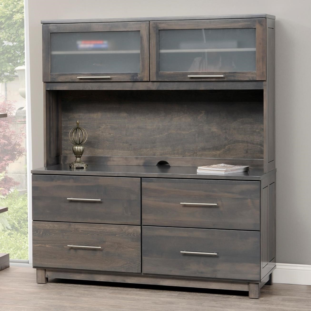 Y U0026 T Woodcraft Urban Office Credenza And Hutch With Four Lateral File  Drawers   Saugerties Furniture Mart   Desk U0026 Hutch Sets