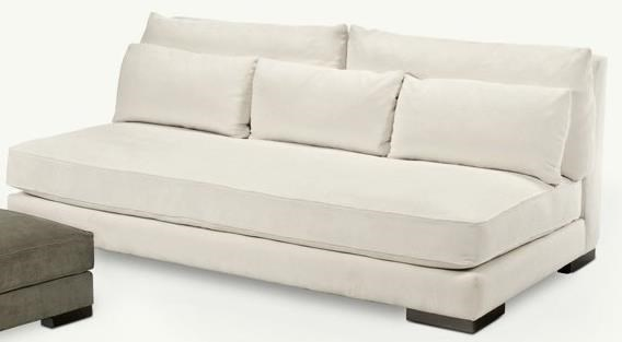 Younger Chill Armless Sofa With Large Block Feet