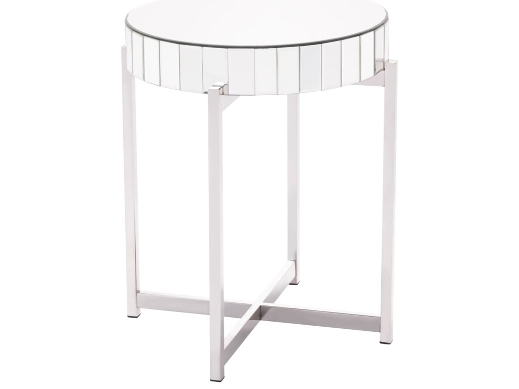 Zuo Accent TablesMirrored X Circular End Table