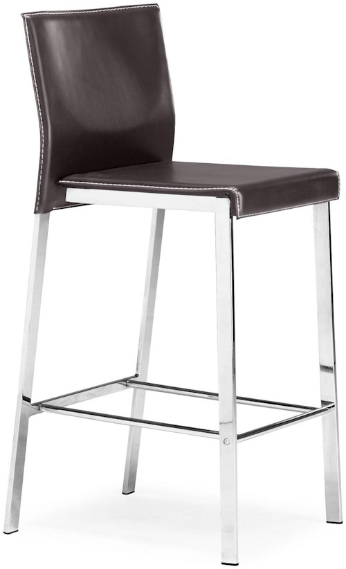Zuo Bar Chrome and Regenerated Leather Dining Bar Stool