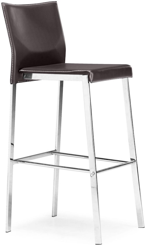 Zuo Bar Chrome and Regenerated Leather Barstool