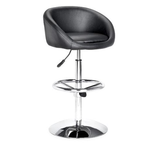 Zuo Bar Chrome and Leatherette Barstool with Adjustable Footrest