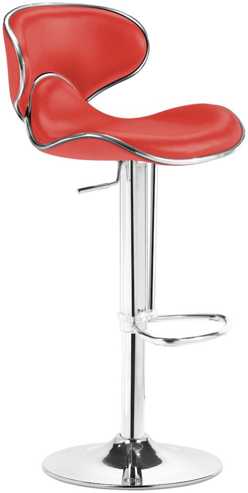 Zuo Bar High Back Plush Seat Bar Chair with Hydraulic Piston and Chrome Foot Rest