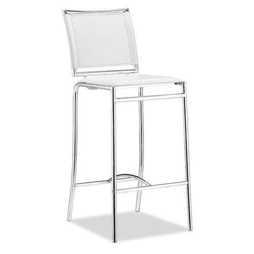Zuo Bar Set of 2 Chrome and Leatherette Bar Chairs