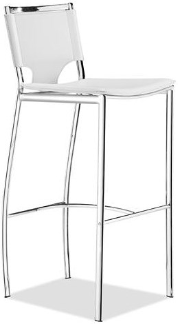 Zuo Bar Set of 2 Modern Chrome Steel and Leatherette Bar Chairs