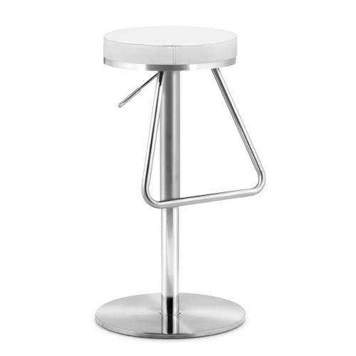 Zuo Bar Adjustable Stainless Steel Leatherette Cushion Barstool