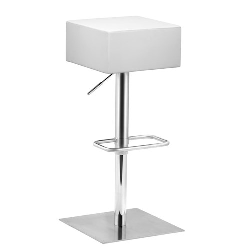 Zuo Bar Square Seat Barstool with Adjustable Stainless Steel Frame