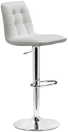 Zuo Bar Adjustable Height Barstool with Button Tufted Seat Back and Leatherette Upholstery