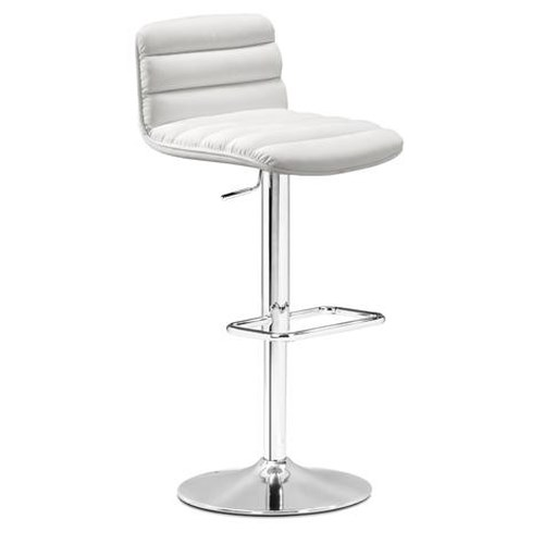 Zuo Bar Adjustable Height Leatherette Barstool with Low Seat Back