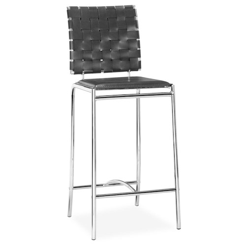 Zuo Bar Set of 2 Contemporary Woven Leatherette Counter Chairs