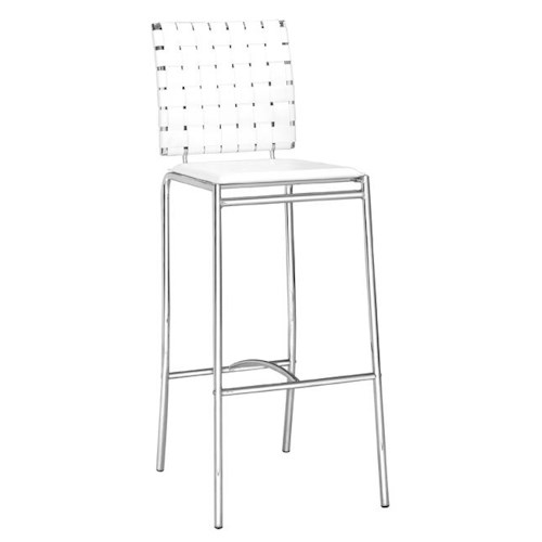 Zuo Bar Set of 2 Contemporary Woven Leatherette Barstools