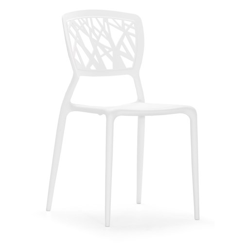 Zuo Modern Dining Accents Set of 6 Polypropylene Dining Chairs with Abstract Lattice Backs
