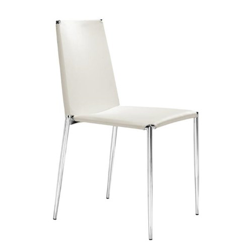 Zuo Modern Dining Accents Set of 4 Chrome and Leatherette Stackable Chairs