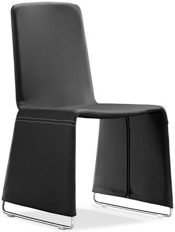 Zuo Modern Dining Accents Set of 2 Leatherette Wide Leg Dining Chairs