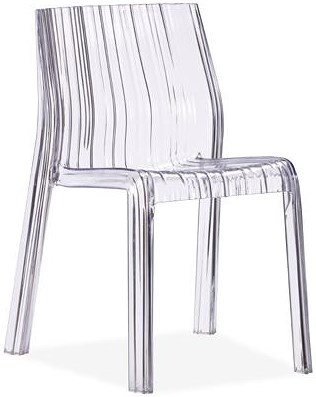 Zuo Modern Dining Accents Set of 4 Transparent Polycarbonate Ruffled Dining Chairs