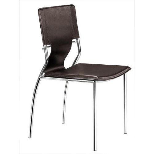 Zuo Modern Dining Accents Set of 4 Steel and Leatherette Side Chairs