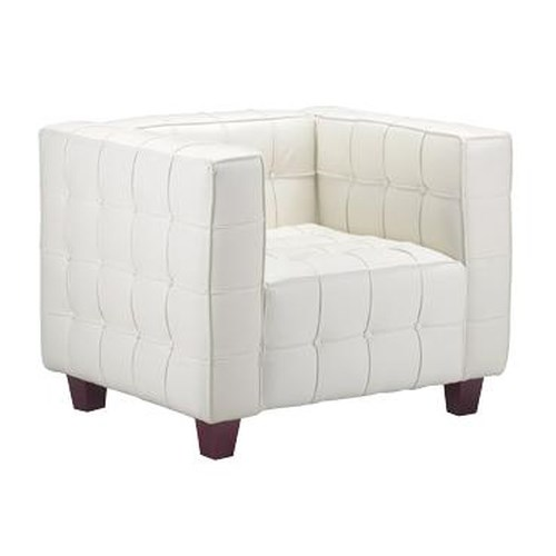 Zuo Occasional Collection Fully Button Tufted Leather Armchair