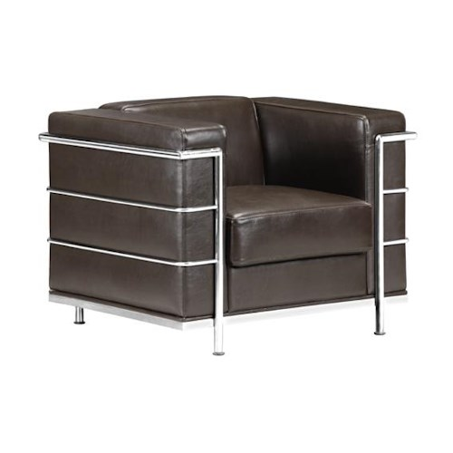 Zuo Occasional Collection Leather Armchair with Chromed Steel Tube Frame