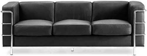 Zuo Occasional Collection Leather Sofa with Chromed Steel Tube Frame