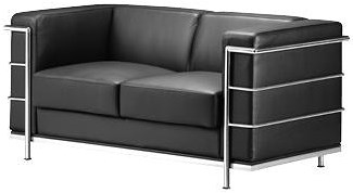 Zuo Occasional Collection Leather Loveseat with Chromed Steel Tube Frame