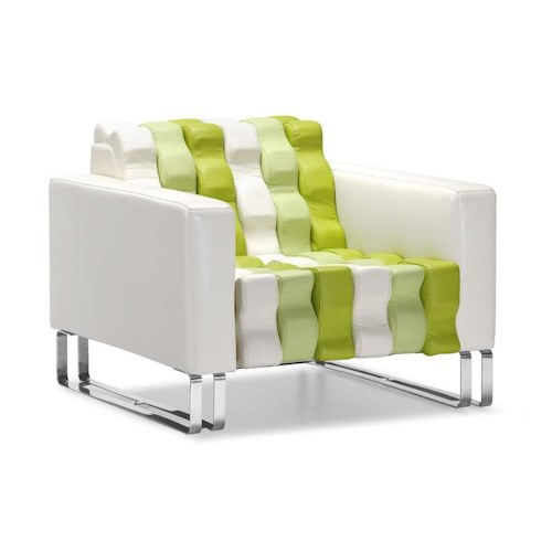 Zuo Occasional Collection Multicolor Rippled Leatherette Accent Armchair