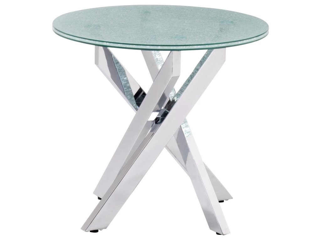 Zuo Stance Crackled Glass Side Table